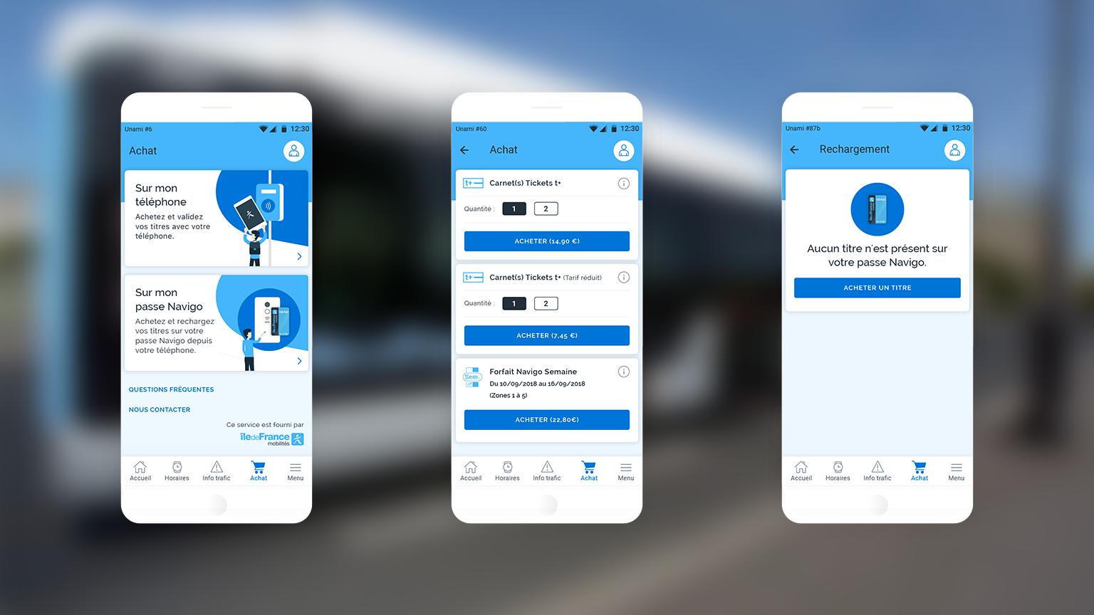 Captures d'écran du parcours d'achat de l'application Vianavigo