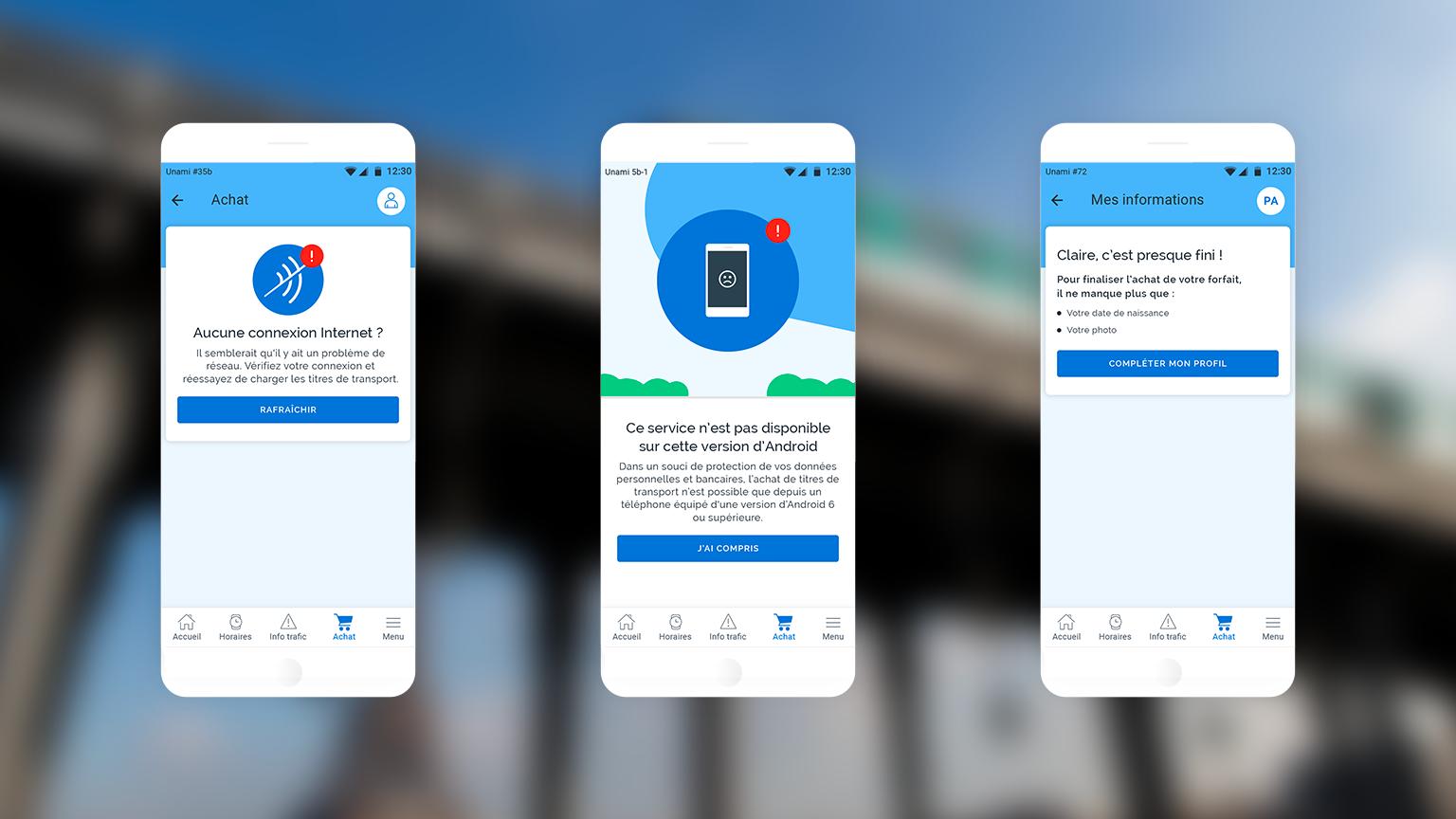 Captures d'écran présentant des indications et messages pour guider l'utilisateur sur l'application Vianavigo