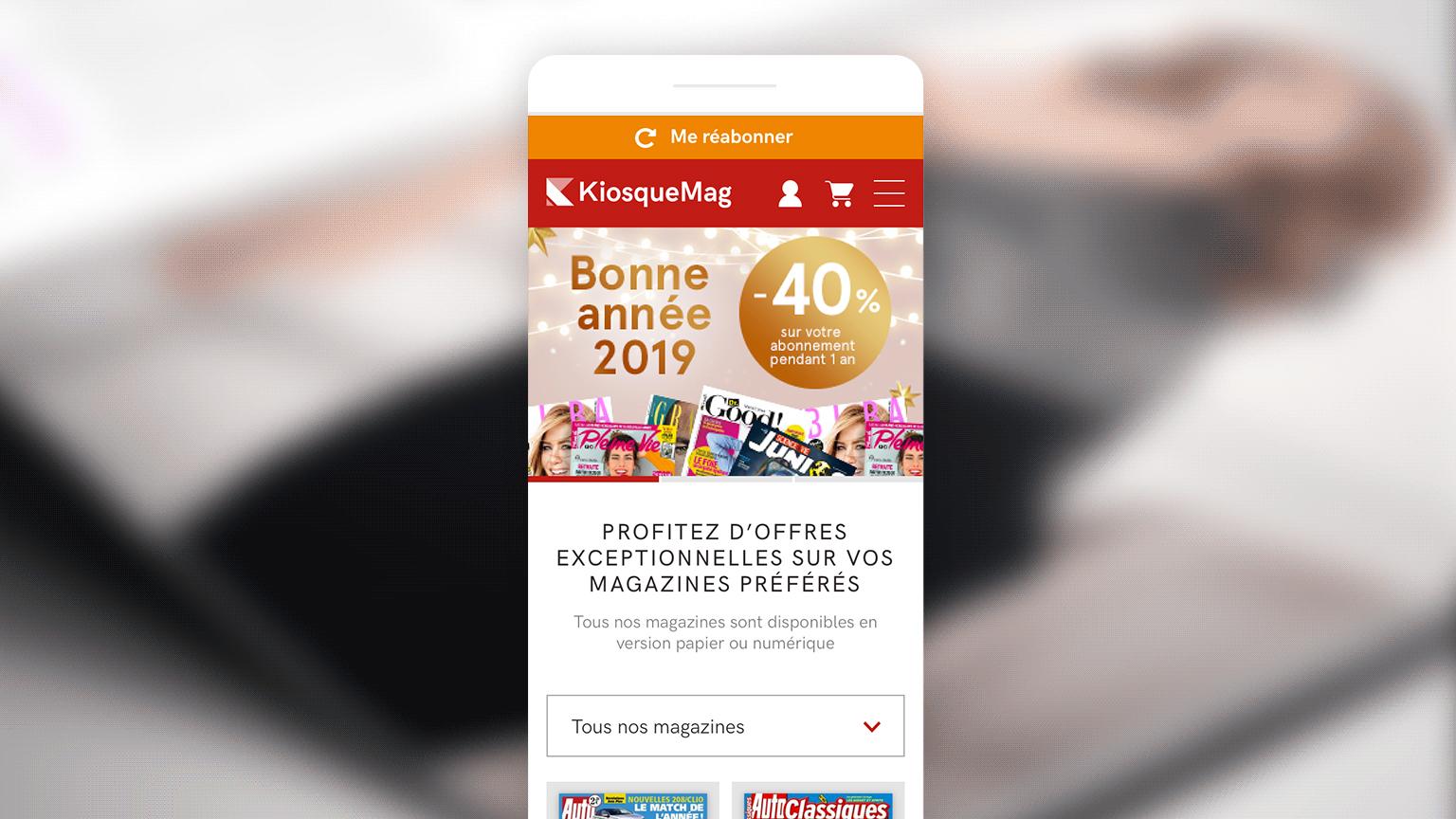 Page d'accueil mobile du site kiosquemag suite à la refonte par Unami