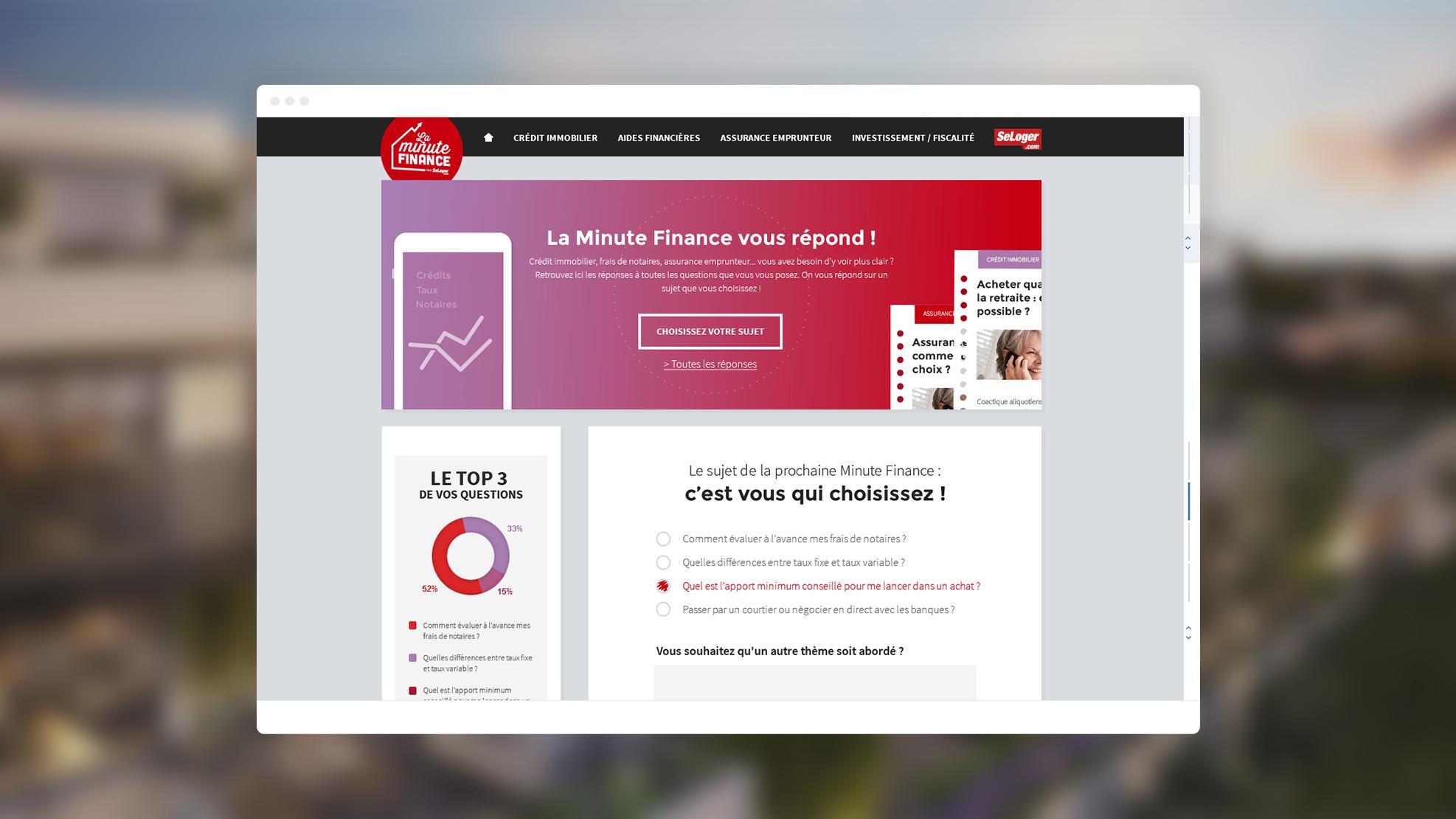 Image présenant une capture d'écran de la page d'accueil du site laminutefinance pour Se Loger