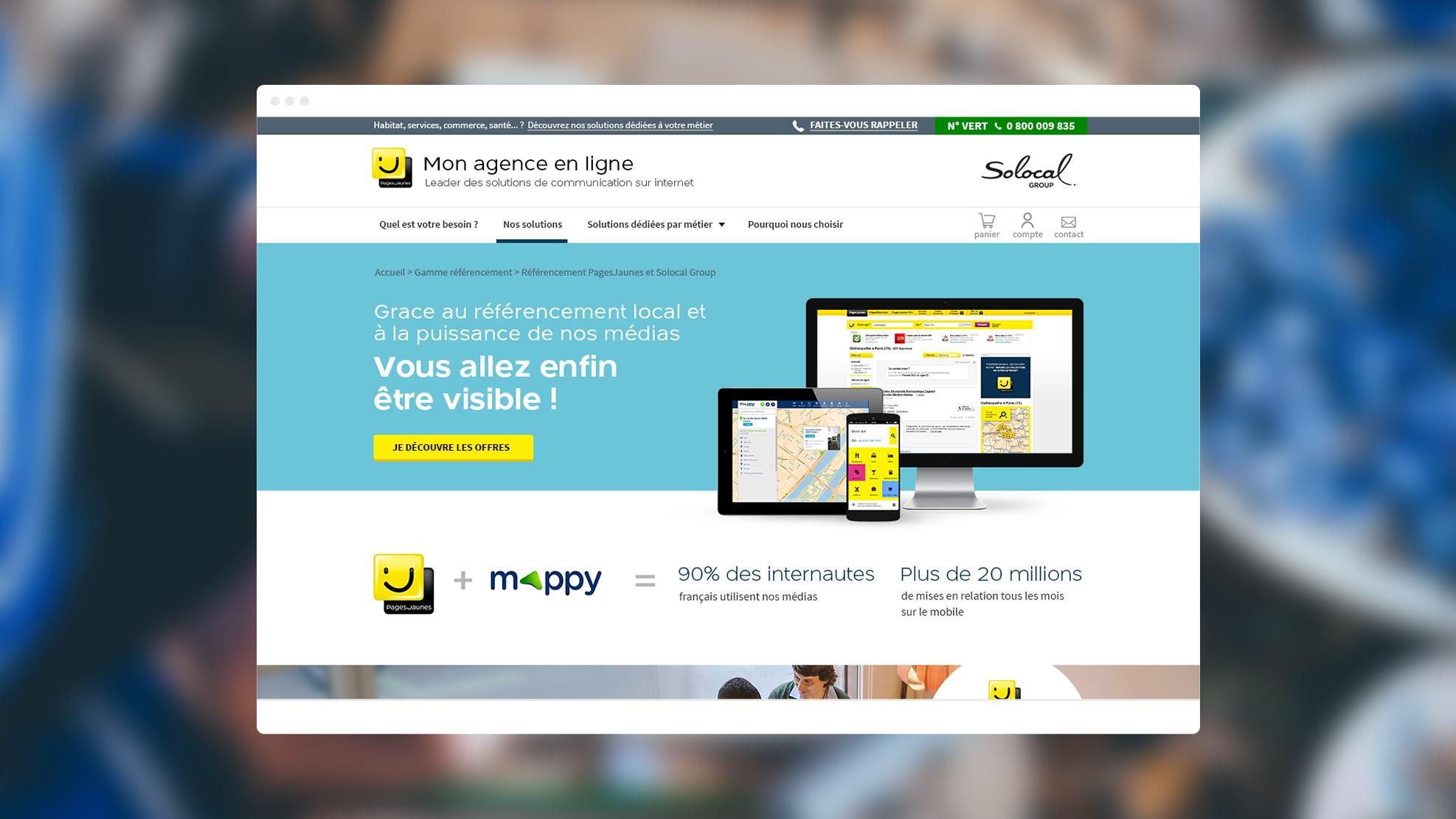 Capture d'écran du site Mon agence en Ligne de Pages Jaunes ( Solocal)