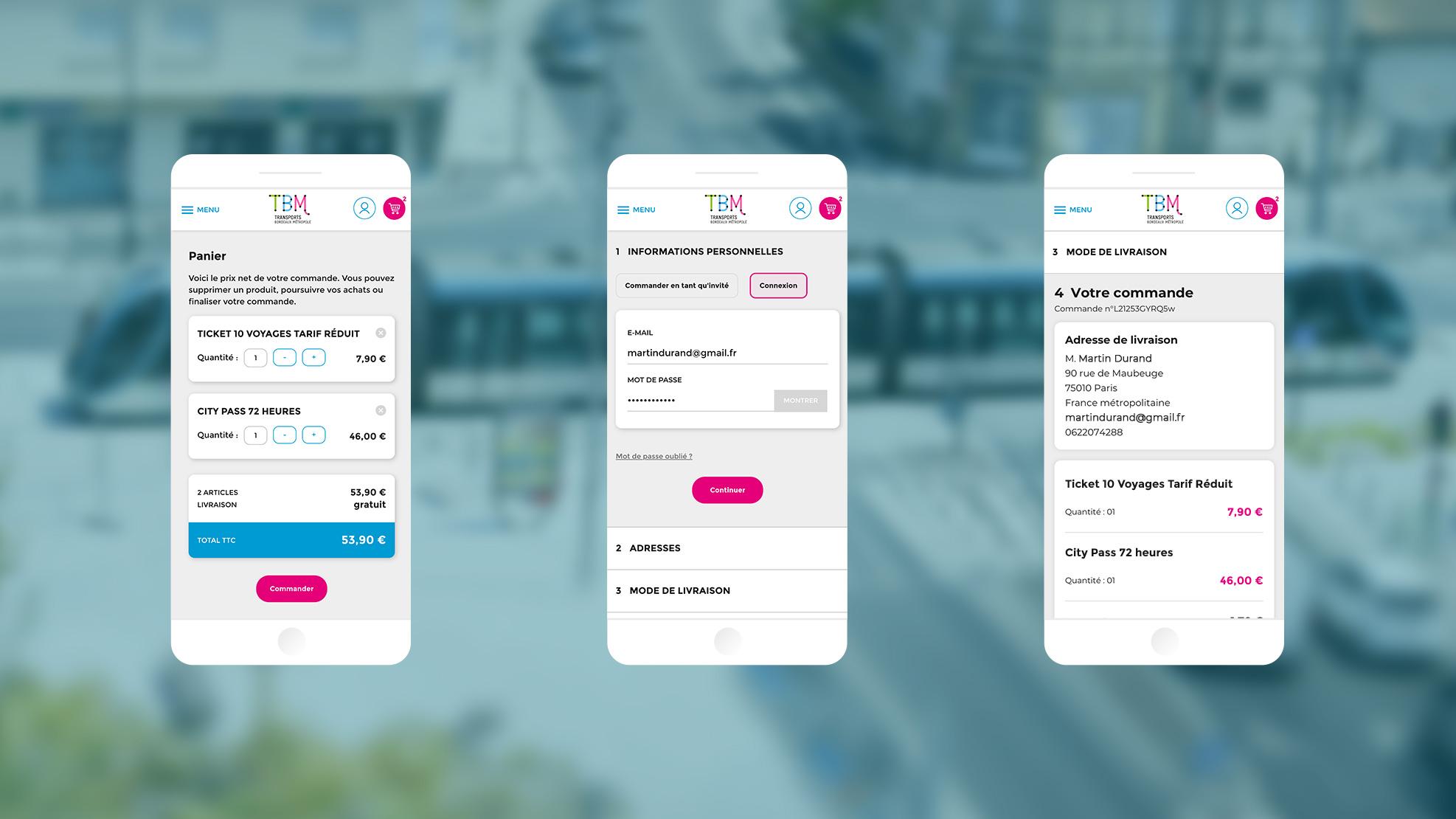 Capture d'écran de la eboutique TBM sur mobile